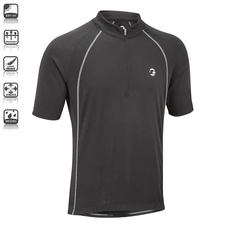 Tenn Outdoors Mens Sprint Short/Sleeve Cycling Jersey - Black