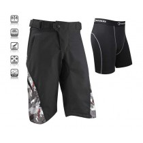 Tenn outdoors Mens Burn MTB Shorts + Coolflo Padded Boxers Combo